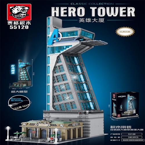55120 5853pcs Light Version Of The Large Avengers Tower Building Blocks Toy Ship From China
