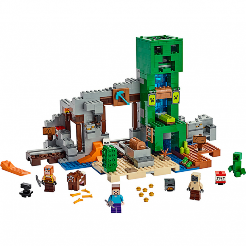 SX1035 Minecraft Series 21155 Creeper Mine Treasure Hunt Assembled Building Block Toy Organ Cave Ship From China