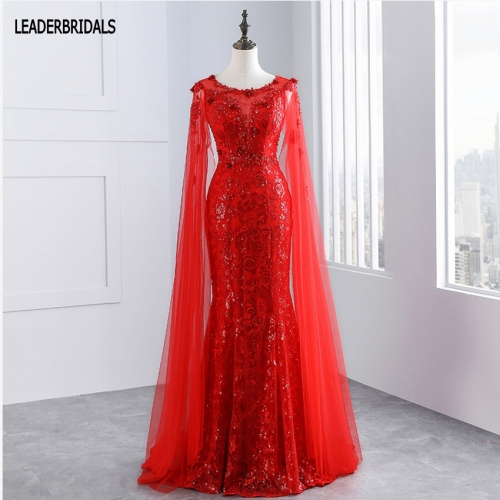 2018 Shinny Mermaid Evening Dress Sheer Long Sleeves Prom Gowns Red Lace Flowers Backless Vestido De Festa Stock Party Gowns EZ02