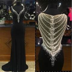 2018 Prom Party Formal Gowns Black Sweetheart Beading Plus Size Vestidos De Festa Sheer Back Pearls Stretch Jersey Evening Dress EZ06