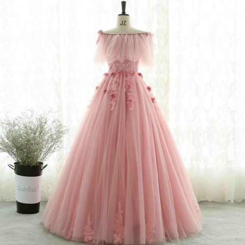 2018 Stock Lace Prom Dress 3D Flowers Beaded Strapless Puffy Ball Gown Luxury Special Occasion Party Dresses Free Shawl EZ05