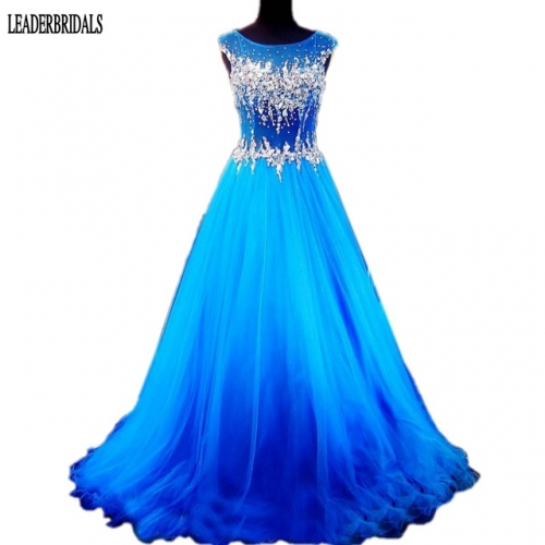 2018 Sleeveless Prom Dress Elegant Scoop Tulle Plus Size Holloween Stock Custom Party Evening Gowns Sheer Bodice Party Dresses PZ06