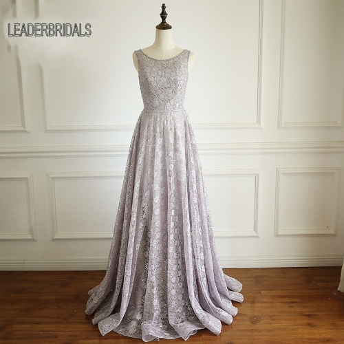 2018 New Lace Evening Dress Sheer O-neckline Prom Gowns Silver A-line Puffy Vestido De Festa Stock Custom Party Evening Gowns PZ01