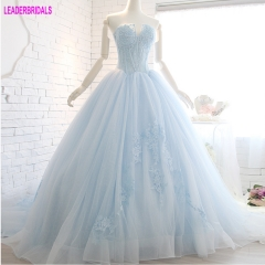Strapless Lace Prom Dresses 2018 Vestidos De Festa Beads Blue Pink Lilac Ball Gowns Stock Custom Candy Color Dress PZ07