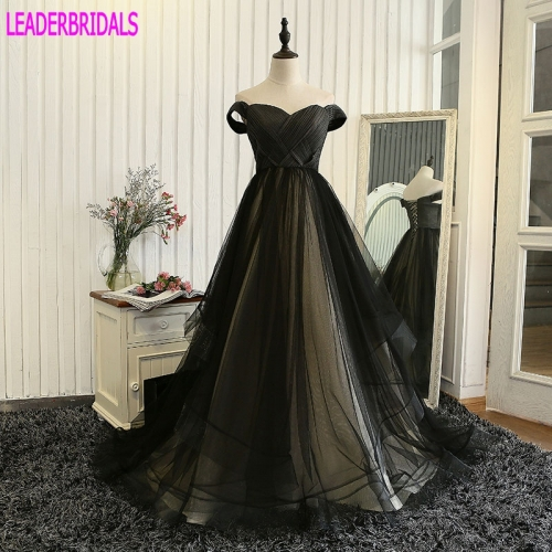 2018 Cap Sleeves Prom Dress Elegant V Neck Black Champagne Tulle Satin Plus Size Holloween Stock Custom Party Evening Gowns PZ05