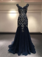 Sweetheart Formal Party Gowns 2018 Beads Rinestones Navy Blue Plus Size Real Photos Prom Evening Dresses PZ03