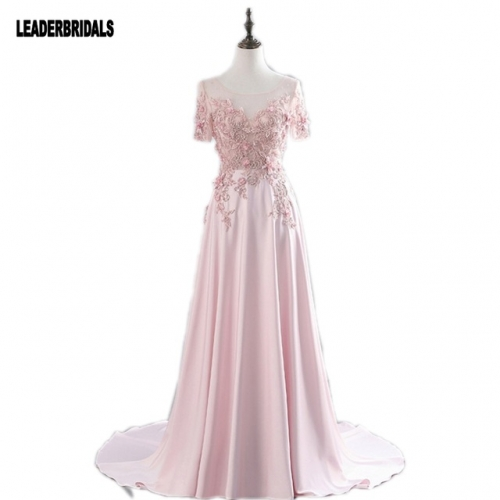Short Sleeves Pink Prom Dress Formal Gowns 2018 Lace Flowers Sheer Neck Vintage Long Custom Stock A-line Party Evening Dresses EZ08