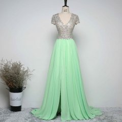 New Real Exquisite Mint Green Chiffon Long Prom Dresses 2017 V Neck A Line Floor Length Beaded Crystals Women Party Dresses EZ07