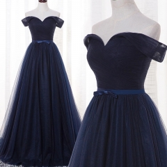 2018 Off Shoulder Dark Navy Long Style Bridesmaid Dress BZ01