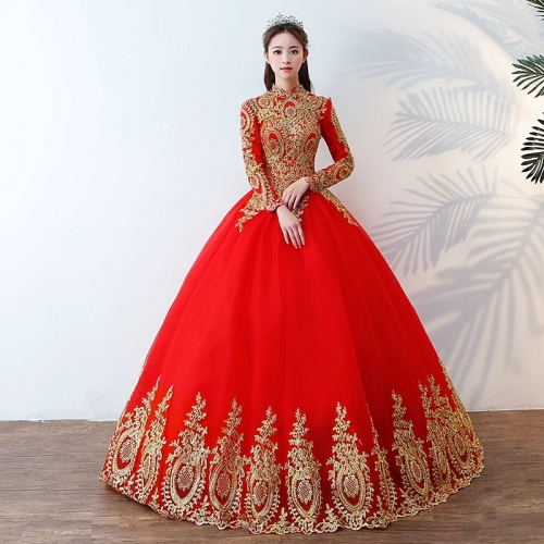 2018 Long Sleeves Red Satin Tulle Applique Colorful Wedding Dresses WZ07