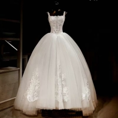 2018 Robe De Mariage Vintage Luxury Double Straps Ball Gown Wedding Dress Bridal Gown WZ10