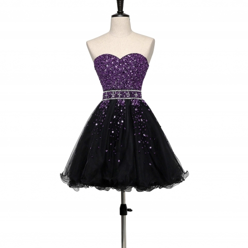 2018 Purple Black Satin Tulle Beading Cocktail Dress CZ03