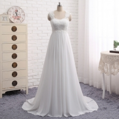 2018 Robe De Mariage Vintage Lace Chiffon A-line Wedding Dress Bridal Gown WZ20