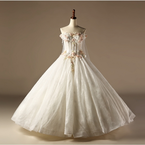 2018 Robe De Mariage Vintage Satin Lace Colorful Flowers Feather Ball Gown Wedding Dress Bridal Gown WZ28