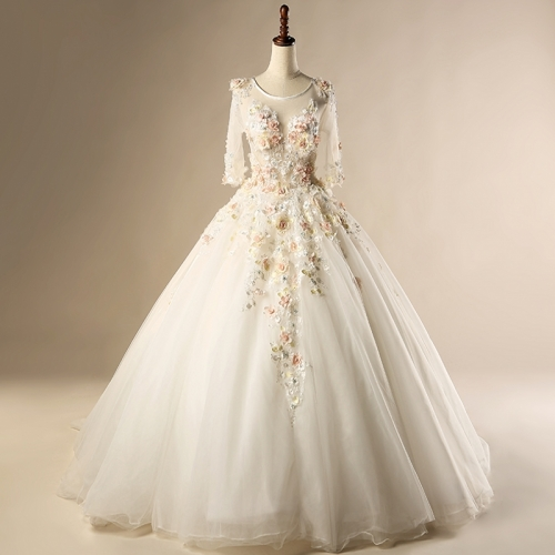 2018 Robe De Mariage Vintage 3/4 Sleeves Satin Tulle Applique Colorful Flowers Ball Gown Wedding Dress Bridal Gown WZ21