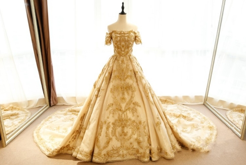 2018 Robe De Mariage Vintage Gold Satin Lace Applique Bead Colorful A-line Wedding Dress Bridal Gown WZ29