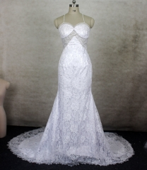 New Style Mermaid Wedding Dress Halter Lace Beading Bridal Gown WZ40