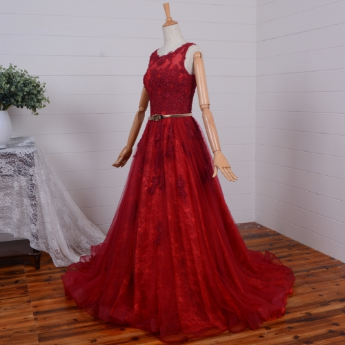 New Style Lace Prom Dresses Vestidos De Festa Lace Applique Beads Scoop Ball Gowns PZ12