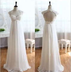New Style Wedding Dress Cap Sleeves Lace Applique Beading Wedding Gown Beach Chiffon Empire Bridal Gown WZ41