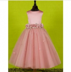 2018 New Style Flower Satin Tulle Flower Girl Dress FZ04