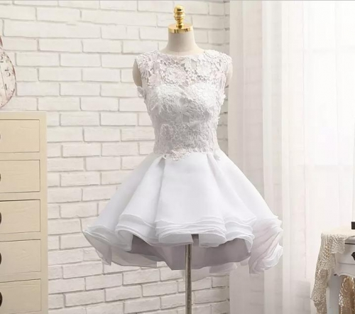 Venice Lace Satin Organza Short Style Wedding Dress Bridal Gown WZ38
