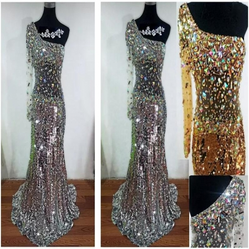 New Style Sexy Evening Dress Silver Sequins Lace Beading Party Dresses EZ15