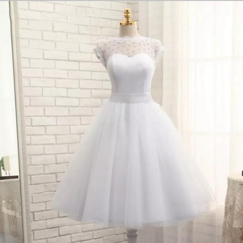 Cap Sleeves Satin Tulle Beaded Short Style Wedding Dress Bridal Gown WZ37