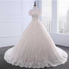 New Style Satin Tulle Wedding Dress Off Shoulder Lace Applique Beaded Ball Gown Bridal Dress WZ50
