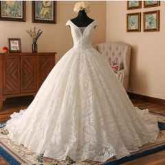 New Style Satin Lace Wedding Dress Cap Sleeves Beaded Ball Gown Bridal Dress WZ49