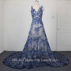New Style Sexy Evening Dress Navy Sequins Lace Applique Bead Perspective Party Dresses EZ12