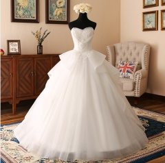 New Style  Satin Organza Wedding Dress Strapless Lace Applique Beaded Ball Gown Bridal Dress WZ43