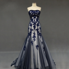 New Style Ivory Satin Dark Navy Tulle Applique Beading Party Dresses PZ09