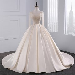 New Style Satin Ruffles Wedding Dress Long Sleeves Beaded Ball Gown Bridal Dress WZ45