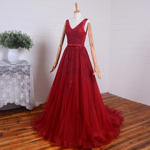 New Style Lace Prom Dresses Vestidos De Festa Lace Applique Beads V-neck Ball Gowns PZ10