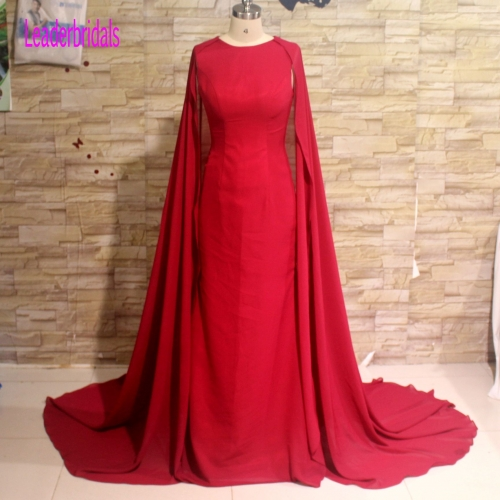 New Style Red Chiffon Evening Dresses Long Mermaid Vestidos De Festa Shawl Party Dress EZ10