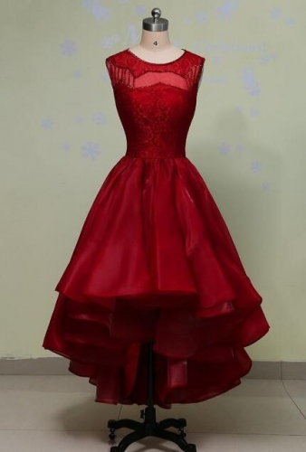 New Style Evening Dress Red Lace 2080 Organza Hi-Lo Party Dresses EZ11