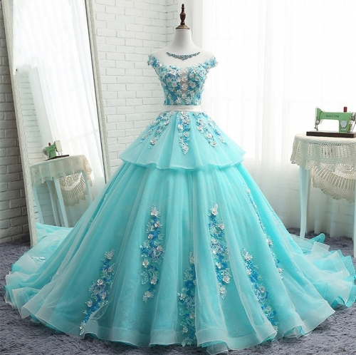 New Style Satin Tulle Organza Wedding Dress Strapless Lace Applique Beaded Ball Gown Bridal Dress WZ51