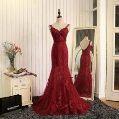 New Style Red Evening Dress Double Straps V-neck Applique Beading Party Dresses EZ20