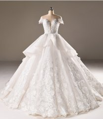 New Style Satin Tulle Organza Wedding Dress Cap Sleeves Applique Flowers Ball Gown Bridal Dress WZ54