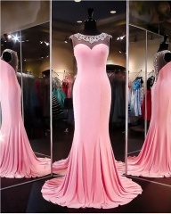 New Style Pink Evening Dress Beading Party Dresses EZ16