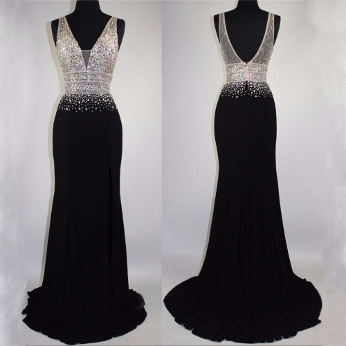 New Style Black Evening Dress Double Straps V-neck Beading Party Dresses EZ18