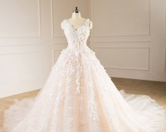 New Style Satin Tulle Lace Wedding Dress Double Straps Applique Flowers Beaded Ball Gown Bridal Dress WZ53