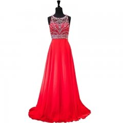 New Style Blue Red Pink Evening Dress Scoop Chiffon Tulle Beading Party Dresses EZ26
