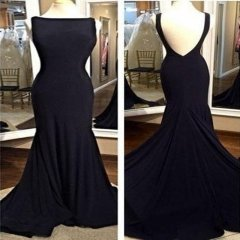 New Style Black Evening Dress Double Straps Bateau Party Dresses EZ21