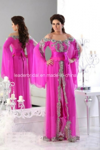 Fuchsia Chiffon Mother Dress Arabic Lace Prom Evening Dresses Z5067