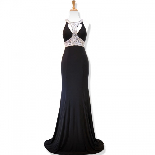 New Style Black Evening Dress Scoop Beading Party Dresses EZ25