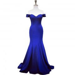 New Style Party Dresses Vestidos De Festa Wine Red Royal Blue Satin Sweetheart Mermaid Evening Dress PZ16