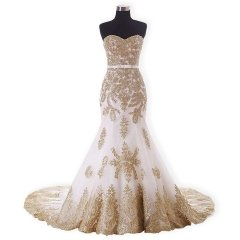 New Style Mermaid Wedding Dress Gold Lace Applique Bridal Dresses WZ56
