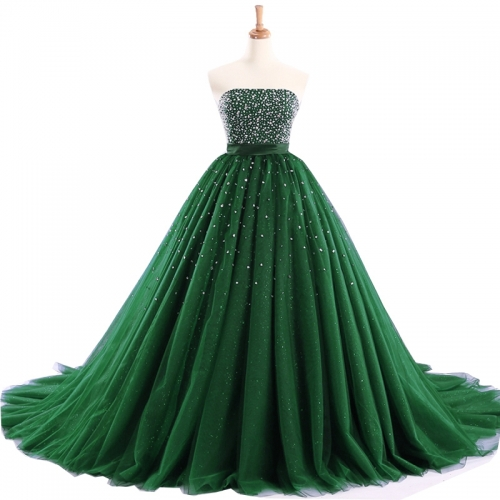 New Style Prom Dresses Vestidos De Festa Green Blue Tulle Beads Scoop Ball Gowns PZ15
