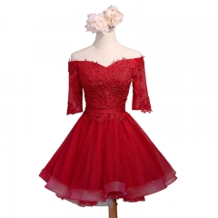 Red Satin Tulle Lace Applique Short Style Chiffon Bridesmaid Dresses BZ05